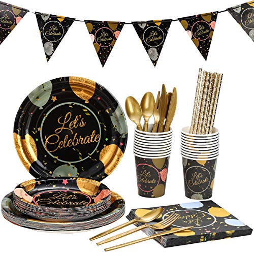 Birthday Celebration Party Supplies Set For Adults  Disposable Dinnerware Kit For 20 Guests  Includes Bronzing Paper Plates, Banner, Knives, Spoons, Forks, Cups and Napkins