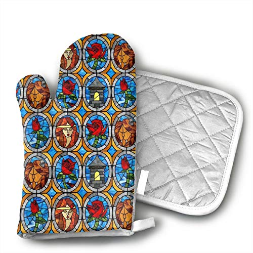 KEIOO Beauty and Beast Fairytale Glass Oven Mitts and Potholders Heat Resistant Set of 2 Kitchen Set Non-Slip Grip Oven Gloves BBQ Cooking Baking Grilling