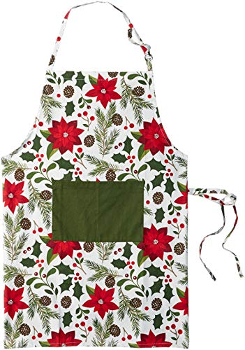 DII Woodland Christmas Collection Apron, One Size, Poinsettia
