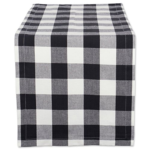 DII Buffalo Check Tabletop Collection for Family Dinners, Special Occasions and Everyday Use, Indoor/Outdoor, Table Runner, 14x72, Black & White