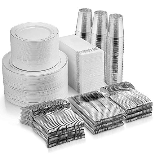 700 Piece Silver Dinnerware Set - 200 Silver Rim Plastic Plates - 300 Silver Plastic Silverware - 100 Silver Plastic Cups - 100 Linen Like Silver Napkins, 100 Guest Disposable Silver Dinnerware Set
