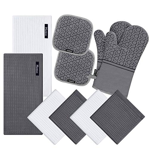 10 Piece Set Silicone Oven Mitts and Pot Holderwith Kitchen Towels and Dish Cloths 500 Degree Heat Resistant Soft Lining Oven MittsQuick Drying Dish Towelfor Kitchen Baking BBQ Grilling (Grey)
