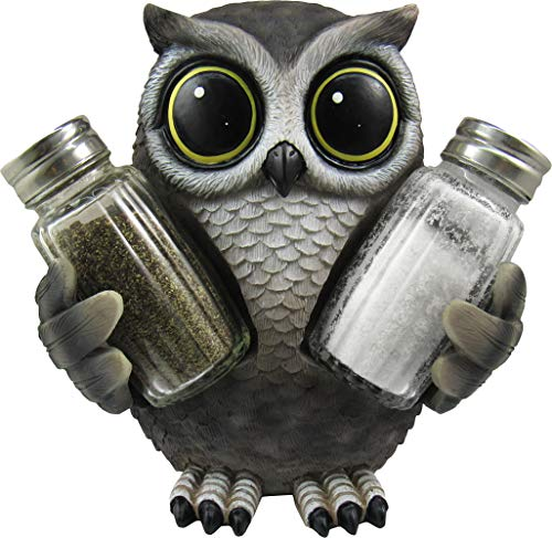 DWK - Little Hoot's Spice - Collectible Owl Salt & Pepper Shaker with Figurine Owl Holder Home Dcor Kitchen Accessory Dining Accent 3-Piece Set, 5.6-inch
