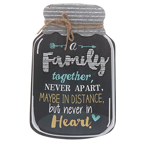 Barnyard Designs Rustic Family Together Never Apart Mason Jar Decorative Wood and Metal Wall Sign Vintage Country Decor 14'x 9'