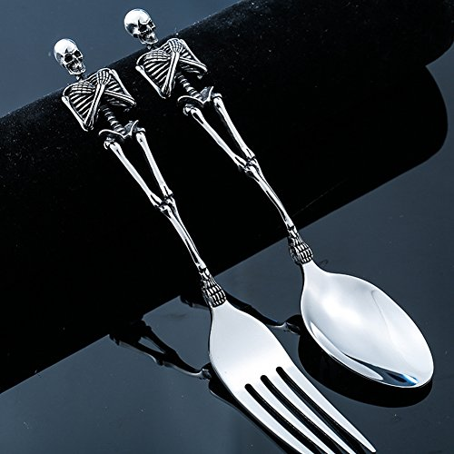 Stainless Steel Skeletons Cutlery Skeleton Fork Spoon Skull Halloween Tableware Family Party Gift Metal Flatware Set