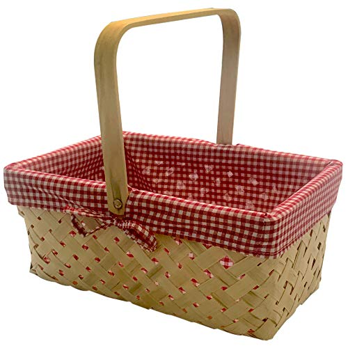 CALIFORNIA PICNI Picnic Basket Natural Woven Bamboo with Folding Handle | Easter Basket | Storage of Plastic Easter Eggs and Easter Candy | Organizer Blanket Storage | Bath Toy and Kids Toy Storage