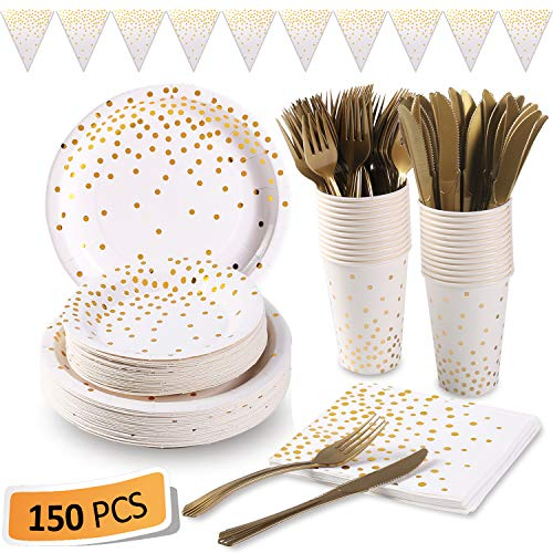 White and Gold Party Supplies 150Pcs Golden Dot Disposable Party Dinnerware Includes Paper Plates, Napkins, Knives, Forks, 12oz Cups, Banner, for Bridal Shower, Engagement, Wedding, Serves 25