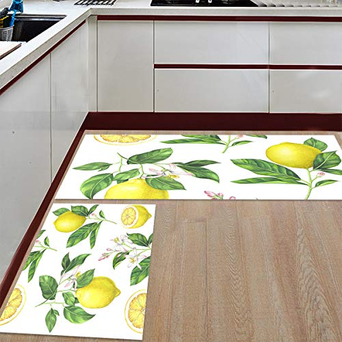 Prime Leader 2 Piece Non-Slip Kitchen Mat Runner Rug Set Doormat Fresh Lemon Pattern Door Mats Rubber Backing Carpet Indoor Floor Mat (15.7' x 23.6'+15.7' x 47.2')