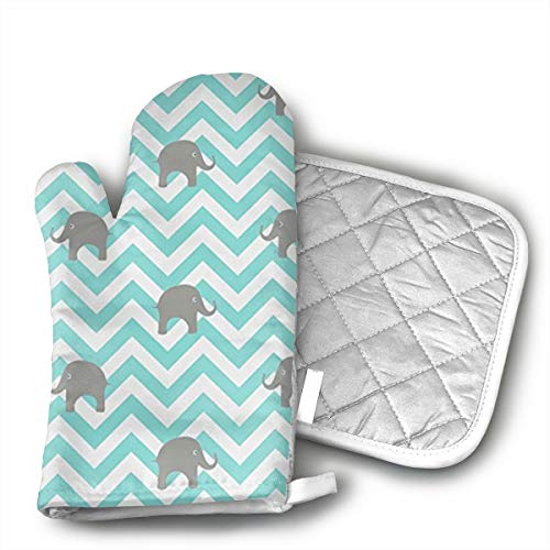 Sjiwqoj8 Cute Baby Elephants Kitchen Oven Mitts,Oven Mitts and Pot Holders,Heat Resistant with Quilted Cotton Lining,Cooking,Baking,Grilling,Barbecue
