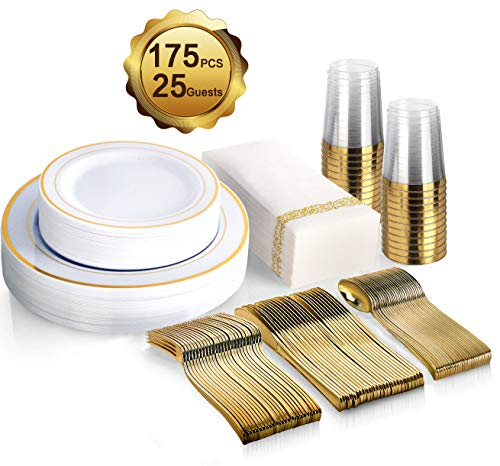 175 Piece Gold Dinnerware Set - 50 Gold Rim Plastic Plates - 25 Gold Plastic Silverware - 25 Gold Plastic Cups - 25 Linen Like Gold Paper Napkins, 25 Guest Disposable Gold Dinnerware Set