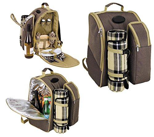 Bravo Enterprise 2 Person Picnic Backpack Insulated Cooler Storage Compartments for 3 Wine Bottles Accessories and Blanket Included