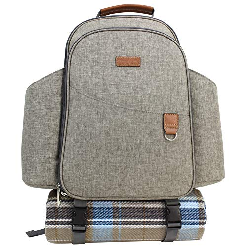 HappyPicnic Insulated Picnic Backpack for 2 Persons with Full Set of Tablewares, Roomy Cooler Compartment, Bottle Holders and Large Waterproof Picnic Rug (Brushed Khaki)