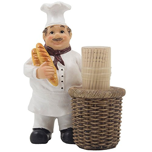 French Chef Pierre Decorative Toothpick Holder Figurine with Faux Wicker Basket Display Stand and Gourmet Bread Accents for Country Cottage Kitchen Decor As Collectible Housewarming Gifts by Home-n-Gifts