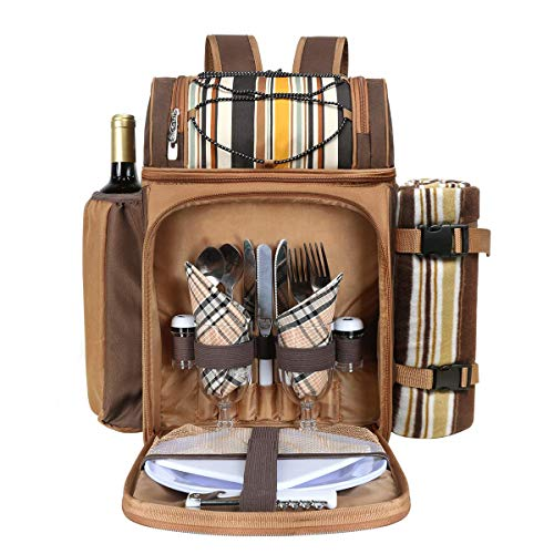 Hap Tim Picnic Basket Backpack for 2 Person with Insulated Cooler Bag/Compartment, Wine Holder, Fleece Blanket, Cutlery Set,Perfect for Beach, Day Travel, Hiking, Camping,Lovers Gifts