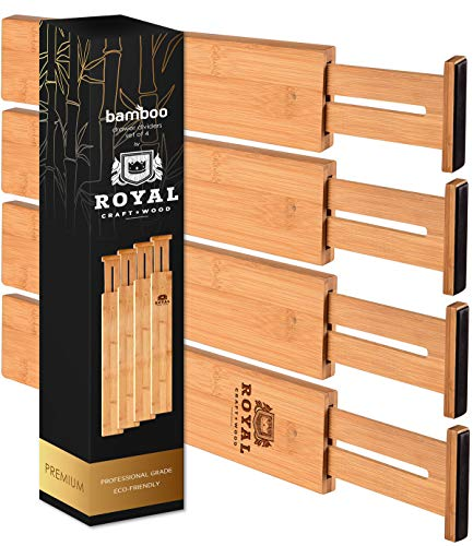 ROYAL CRAFT WOOD Adjustable Bamboo Drawer Dividers Organizers - Expandable Drawer Organization Separators for Kitchen, Dresser, Bedroom, Bathroom and Office, 4-Pack, 13.25-17.25 in (13.25-17.25 in)