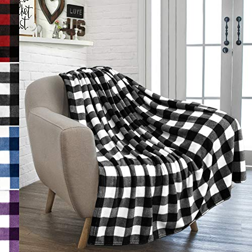 PAVILIA Buffalo Plaid Throw Blanket for Sofa Couch | Soft Flannel Fleece White Black Checker Plaid Pattern Decorative Throw | Warm Cozy Lightweight Microfiber | 50 x 60 Inches