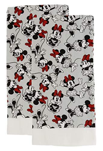 Disney 100% Cotton Kitchen Towels, 2pk, Perfect for Drying Dishes & Hands, Absorbent, Light Weight, and Adorable- Machine Washable- 16 x 26 - Minnie Grey