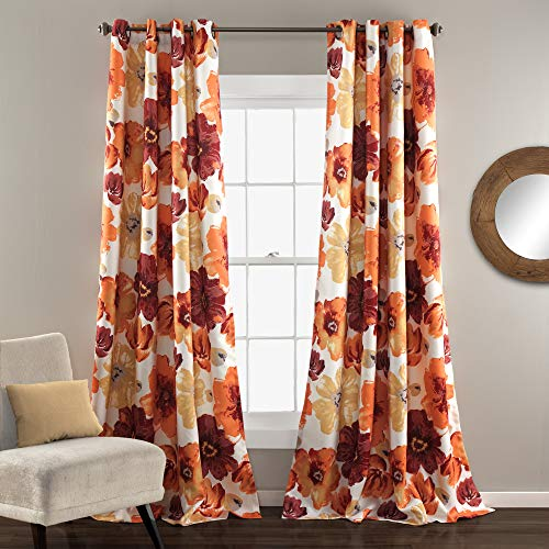 Lush Decor Leah Floral Room Darkening Window Panel Curtain Set for Living, Dining, Bedroom (Pair), 84' L, Red and Orange