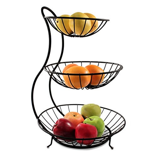 Spectrum Diversified 81810 Yumi Arched 3 Tier Server Serving Basket Fruit Bowl & Produce Snack Display Stand, Black