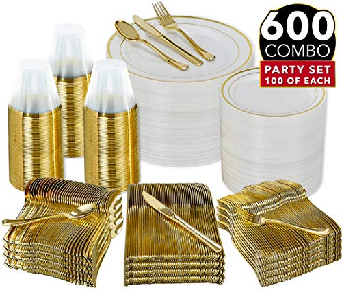 600 Piece Gold Dinnerware Party Set - 100 Guest | 100 Dinner Plastic Plates - 100 Salad Gold Plates- 100 Gold Plastic Silverware Set - 100 9 OZ Gold Plastic Cups | For Wedding, Birthday, Parties