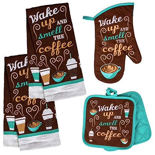 Coffee Kitchen Towel Set 'Wake Up and Smell The Coffee' with 2 Quilted Pot Holders, 2 Dish Towels and 1 Oven Mitt