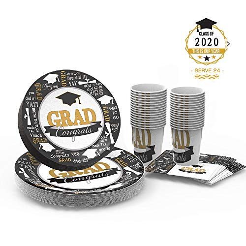 Graduation Party Supplies Disposable Dinnerware Set Paper Plates and Napkins Bulk Serves 24 Guests Includes 24 Dinner Plates ,24 Dessert Plates ,24 Cups and 24 Napkins, for Graduation Decorations