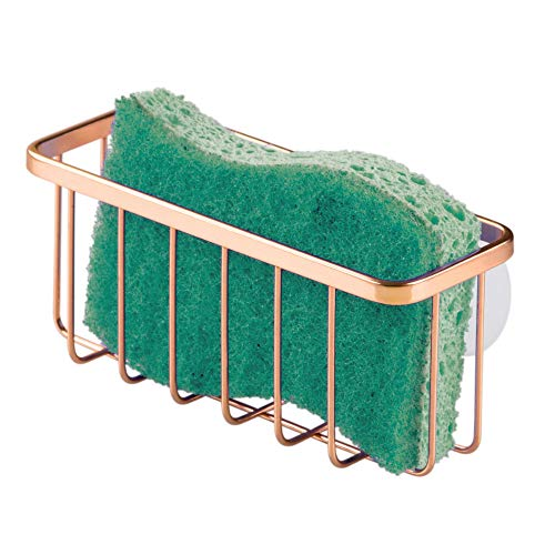 iDesign Gia Kitchen Sink Suction Holder for Sponges, Scrubbers, Soap, Kitchen, Bathroom, 6.75' x 2.5' x 2.5', Copper