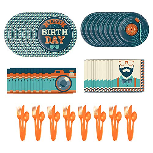 Creative Converting Hipster Party Dinnerware Bundle | Napkins, Plates, Cutlery Set | Cool Hippie Birthday for Adults and Teens, Vintage Theme Decorations