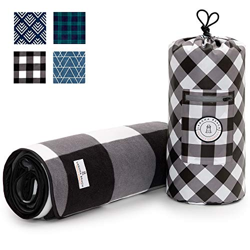 Black and White Checkered Picnic & Outdoor Blanket by Laguna Beach Textile Co | Plush and Water-Resistant Outdoor Mat - Perfect for Camping, Beach, Park and Festivals | Black Gingham