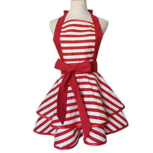 Violet Mist Cute Retro Apron Lacy Vintage Maid Polka Dot Cooking Apron with Pockets for Women Ladies (Red Stripe)