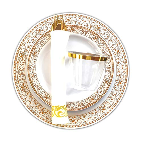 BLISSFUL DINING | 175 Pieces Disposable Gold Plastic Plates & Silverware Set: 25 Dinner Plates, 25 Appetizer/Dessert Plates, 25 Spoons, 25 Forks, 25 Knives, 25 Cups and 25 Napkins (Gold Rim)