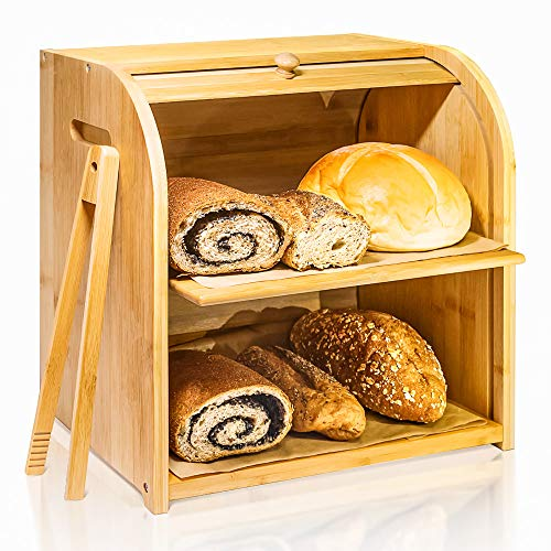 Bamboo Bread Box, Finew 2 Layer Rolltop Bread Bin for Kitchen, Large Capacity Wooden Bread Storage Holder, Countertop Bread Keeper with Toaster Tong, 15 X 9.8 X 14.5, Self Assembly