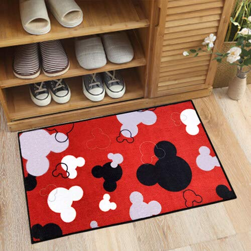 J.Ehonace Mickey Mouse Rugs - Bathroom Rug, Indoor Outdoor Entrance Rug, Kitchen Rug, 17' x 30' (Red)
