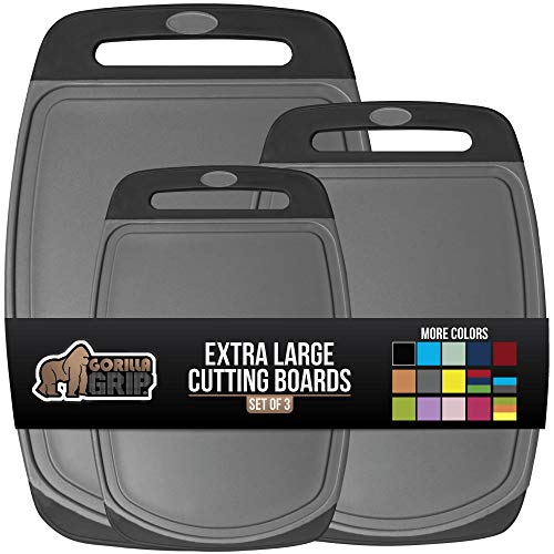 Gorilla Grip Original Oversized Cutting Board, 3 Piece, Juice Grooves, Larger Thicker Boards, Easy Grip Handle, Perfect for the Dishwasher, Non Porous, Extra Large, Kitchen, Set of 3, Gray Black