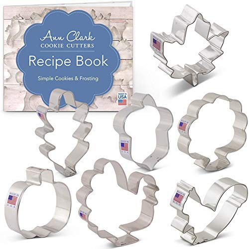 Ann Clark Cookie Cutters 7-Piece Fall and Thanksgiving Cookie Cutter Set with Recipe Booklet, Pumpkin, Maple and Oak Leaf, Turkey, Front Facing Turkey, Squirrel and Acorn
