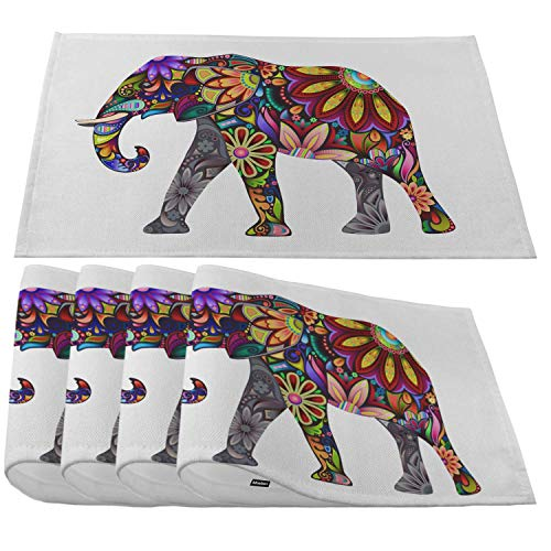 Moslion Colorful Elephant Placemats,Mandala Floral Elephants Place Mats for Dining Table/Kitchen Table,Waterproof Non-Slip Heat-Resistant Washable Indoor Outdoor Dinner Table Mats,Set of 4