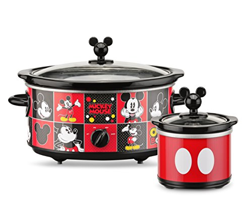 Disney DCM-502 Mickey Mouse Oval Slow Cooker with 20-Ounce Dipper, 5-Quart, Red/Black
