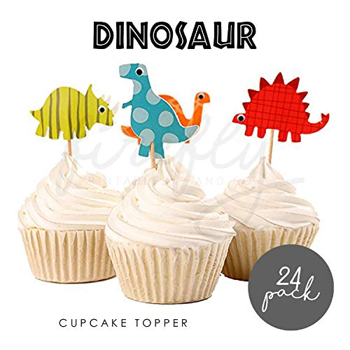 FIREFLY Dinosaur 24 Cupcake Toppers Baby Shower Decorations Party Cake Decorating Supplies First Birthday Decorations Kids Children Baking Supplies Gender Reveal (Dino 24)