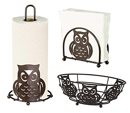 Deluxe Owl Collection 3pc Kitchen Table Dcor Set, Napkin Holder, Paper Towel Stand, Fruit Bowl - Bronze