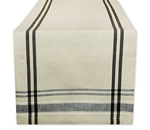 DII 100% Cotton, Machine Washable, Everyday French Stripe Kitchen Table Runner For Dinner Parties, Events, Decor 14x108' - Black