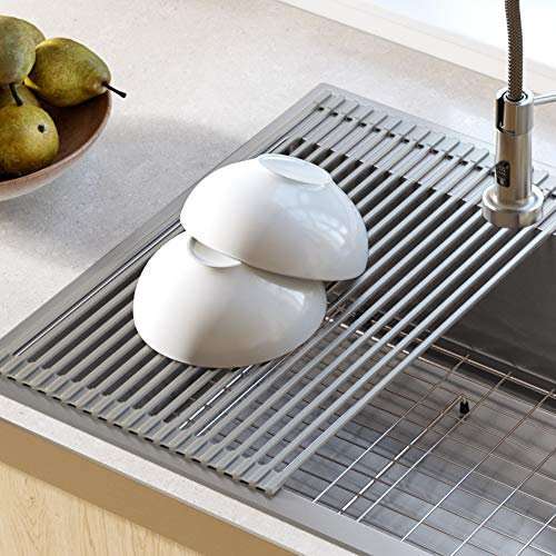 Kraus KRM-10GREY Silicone-coated stainless steel Over the Sink Multipurpose Roll-Up Dish Drying Rack, Grey