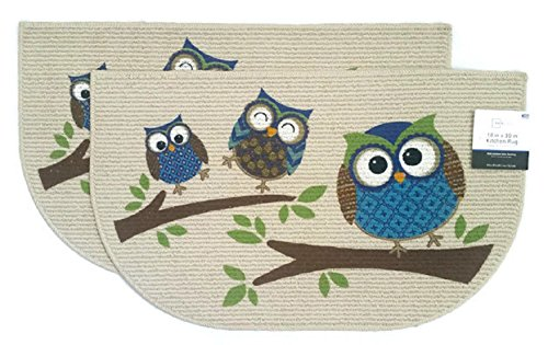 Mainstays Home and Kitchen Rugs Owls Non-Skid Door Mat Set of 2