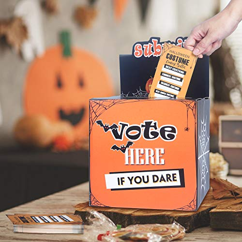 ORIENTAL CHERRY Halloween Party Supplies - Costume Contest Ballot Box & 50 Voting Cards - Fun Decorations for Home Indoor Office - Party Games for Kids