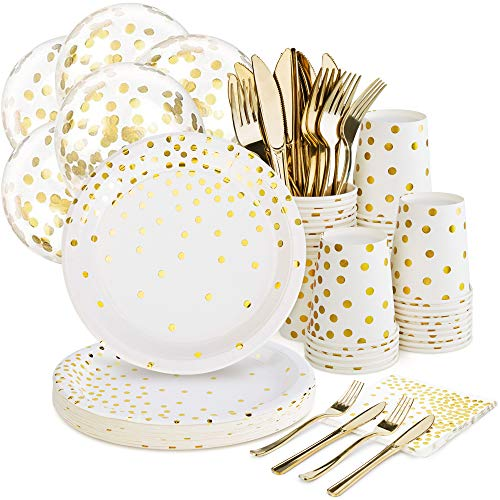 White and Gold Party Supplies Set - 168PCS Gold Paper Plates Disposable Dinnerware Set Dots 7 & 9 Paper Plates Napkins Cups Forks Knives Balloons Serve 24 Birthday Party Wedding Baby Shower