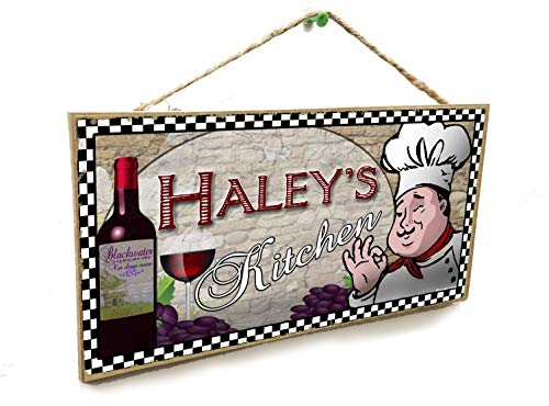 Blackwater Trading Personalized Custom Your Name's Kitchen Italian Fat Chef Style Wine Sign Plaque 5'X10'