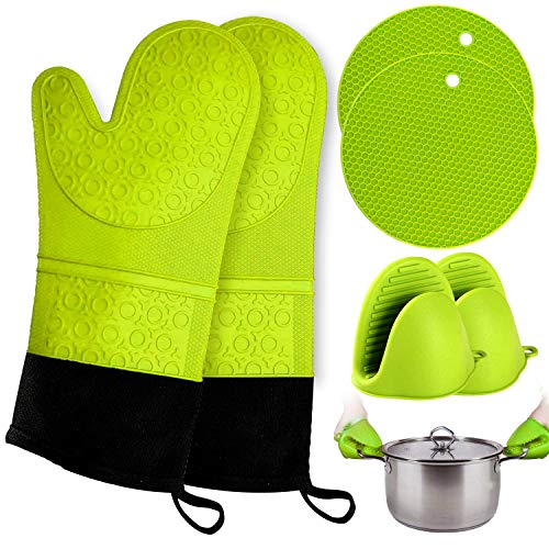 Oven Mitts and Pot Holder- Extra Long Silicone Oven Mitt Heat Resistant 500F with bonus 2 trivets & Mini Pinch Oven Mitts (250F)-Food Safe Baking Gloves for Cooking in Kitchen with Soft Inner Lining
