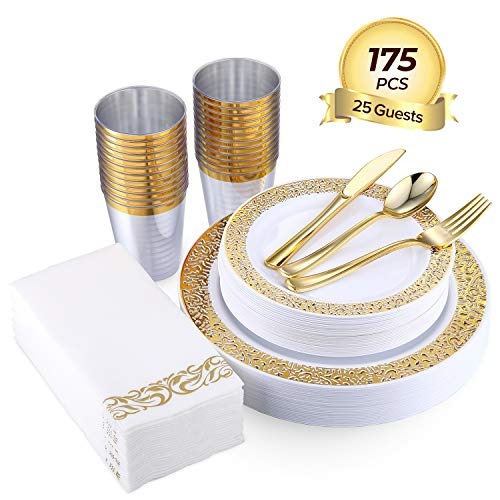 FOCUS LINE 175PCS Gold Disposable Dinnerware Sets for Party Wedding 25 Guests Dinner Plastic Plates Dessert Plates & Plastic Silverware Set & Cups & Napkins