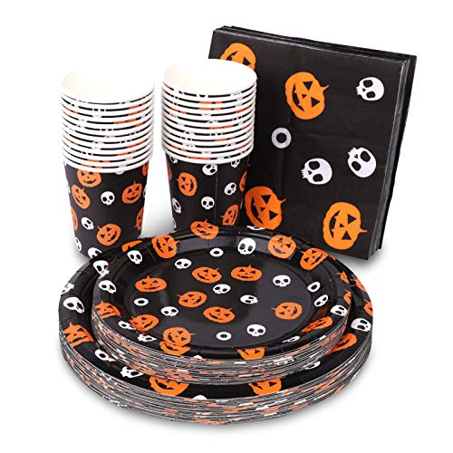 Halloween Disposable Dinnerware Set (Serves 24)  Halloween Party Supplies with 48 Paper Plates, 24 Cups & 24 Napkins  Pumpkin Jack-O-Lantern Tableware for Spooky Themed Party