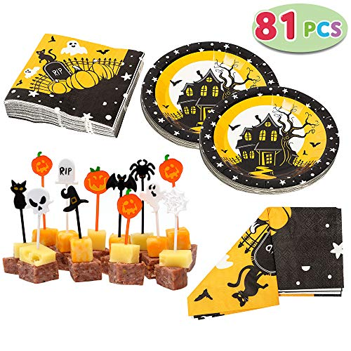JOYIN Halloween Party Tableware Set Including Table Cover (54' by 108'), Napkins, Paper Plates., Led Anti-stress-292