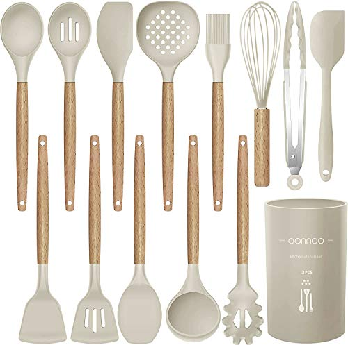 14 Pcs Silicone Cooking Utensils Kitchen Utensil Set, 446F Heat Resistant,Turner Tongs,Spatula,Spoon,Brush,Whisk. Wooden Handles Khaki Kitchen Gadgets Tools Set for Non-stick Cookware (BPA Free)